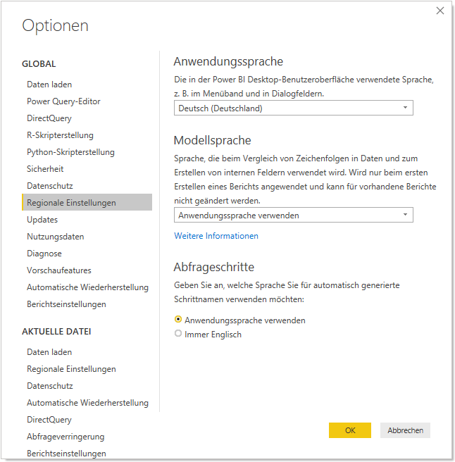 Power BI Desktop Optionen