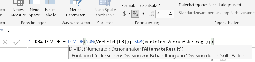 Sichere Division mit der (DAX) DIVIDE-Funktion