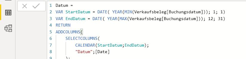 Erstellen einer einfachen Datumstabelle in DAX