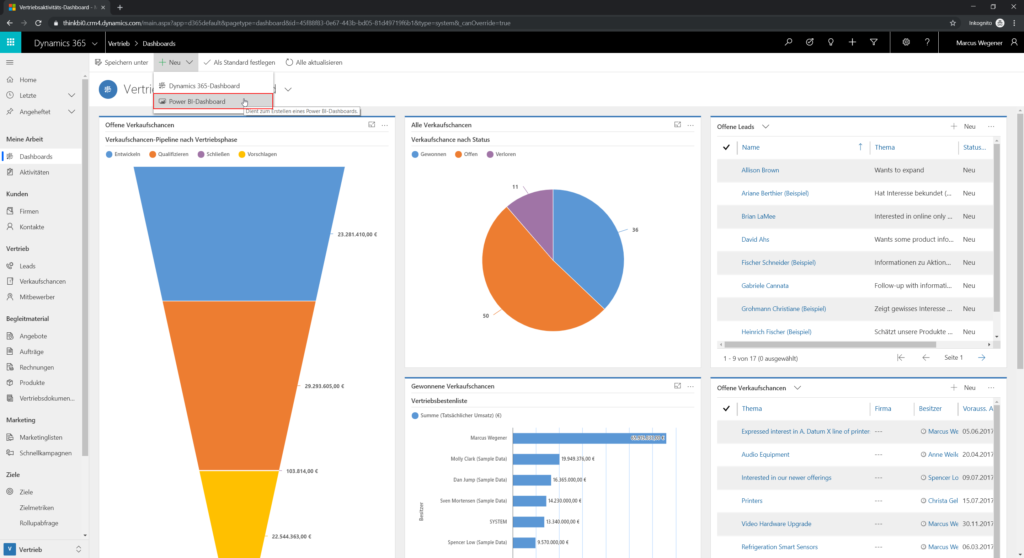 Neu Power BI Dashboard