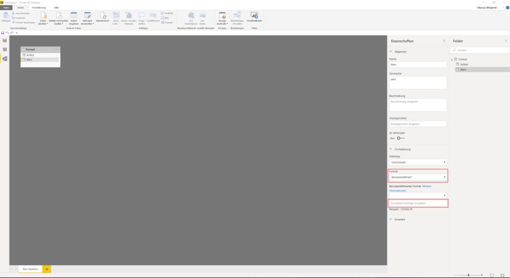 Modellierungsansicht benutzerdefinierte Formatzeichenfolge
