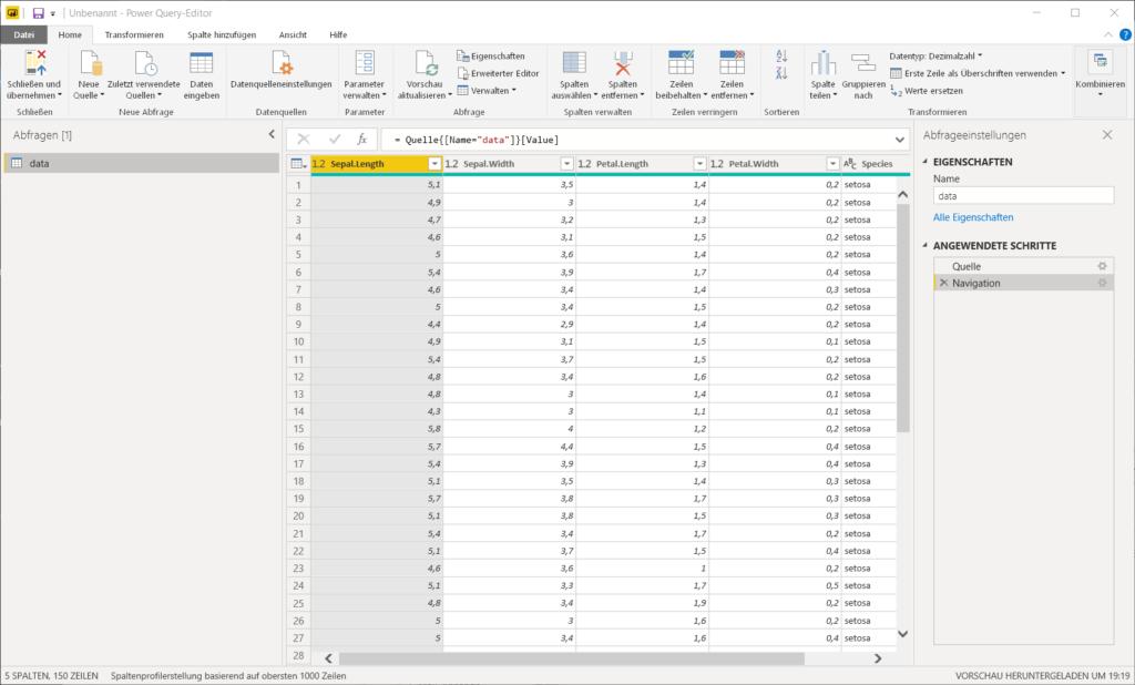 Verwendung von R Daten in Power Query