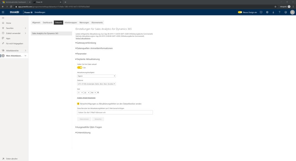 Einstellungen Datasets Aktualisierung planen