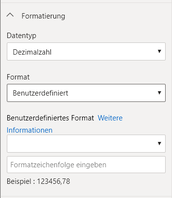 leeres benutzerdefiniertes Format