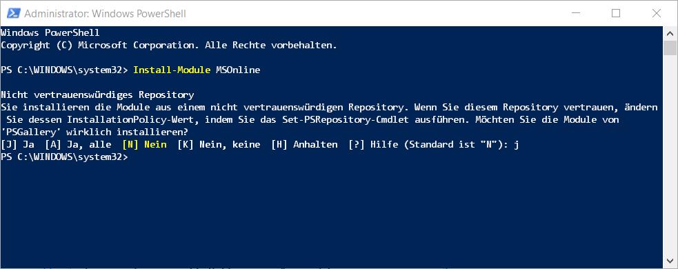 PowerShell Install-Module MSOnline