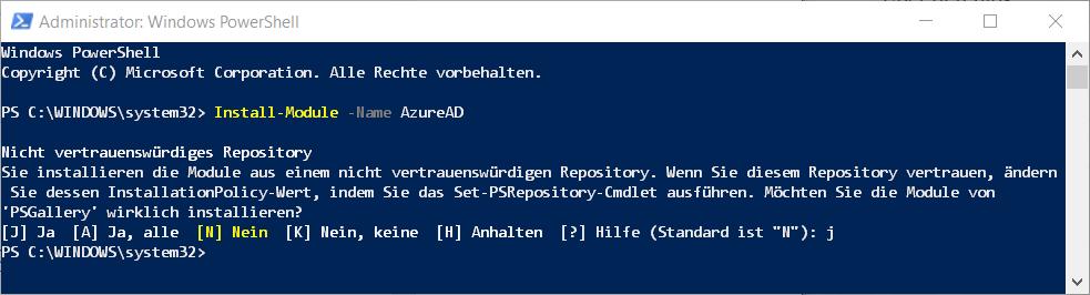 PowerShell Install AzureAD