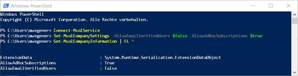 PowerShell Set-MsolCompanySettings