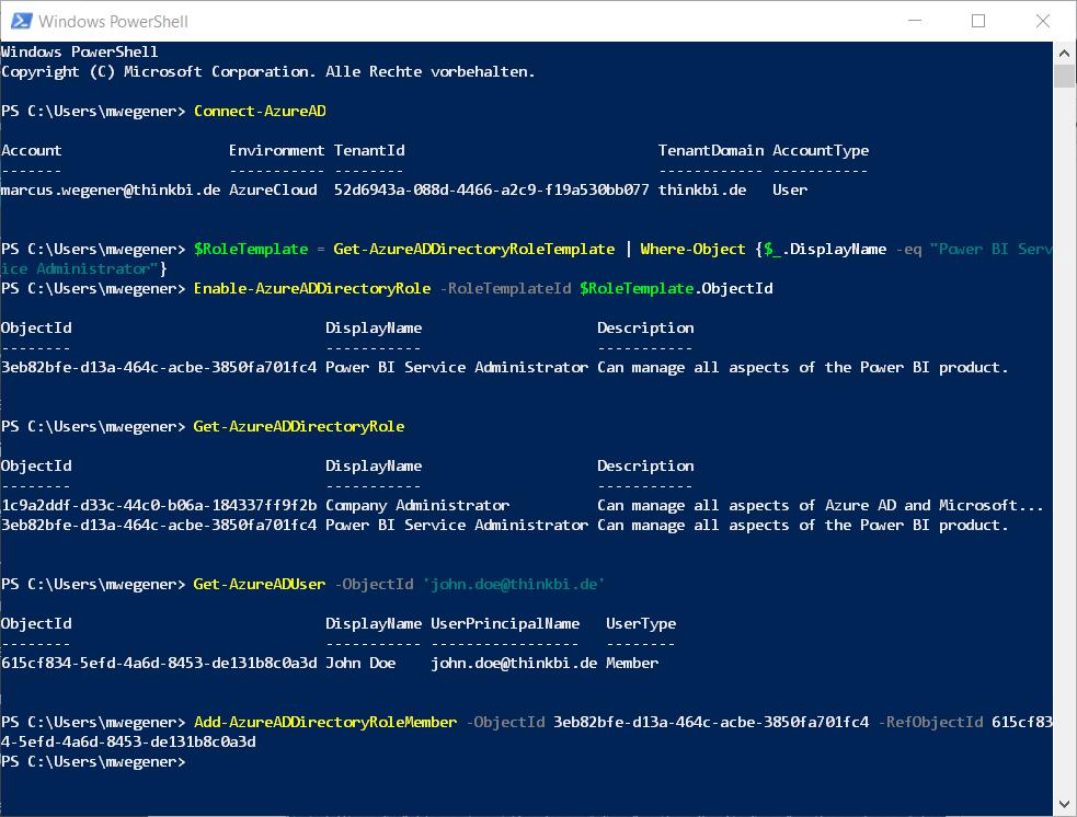 PowerShell AzureAD Rollenverwaltung