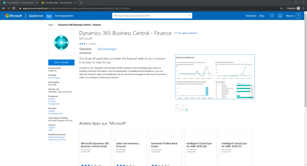Business Central Power BI-App Übersicht