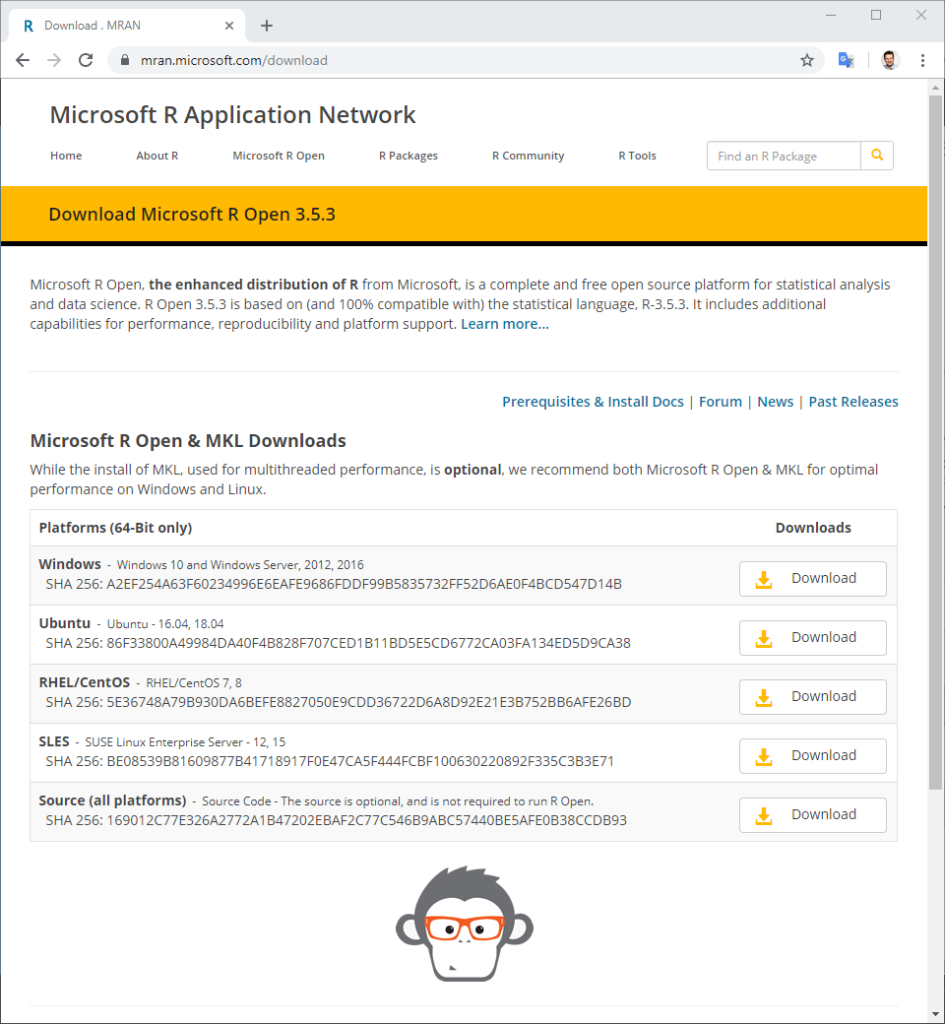 Microsoft R Open Download Webseite