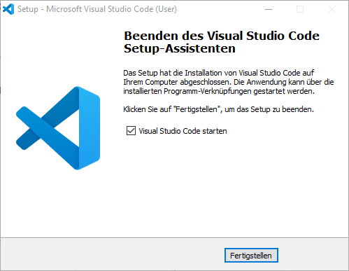 Visual Studio Code Installation Fertigstellen