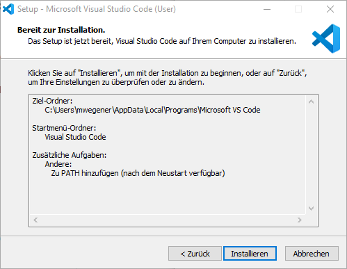 Visual Studio Code Installieren