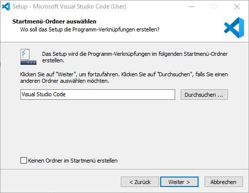 Startmenü-Ordner Visual Studio Code