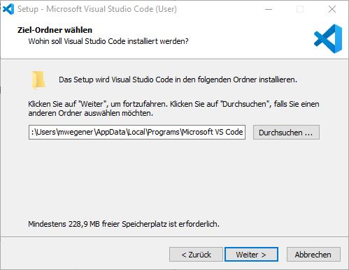 Ziel-Ordner Visual Studio Code