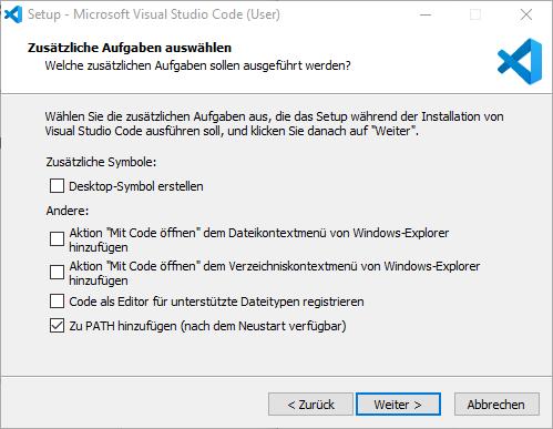 Zusätzliche Aufgaben Visual Studio Code