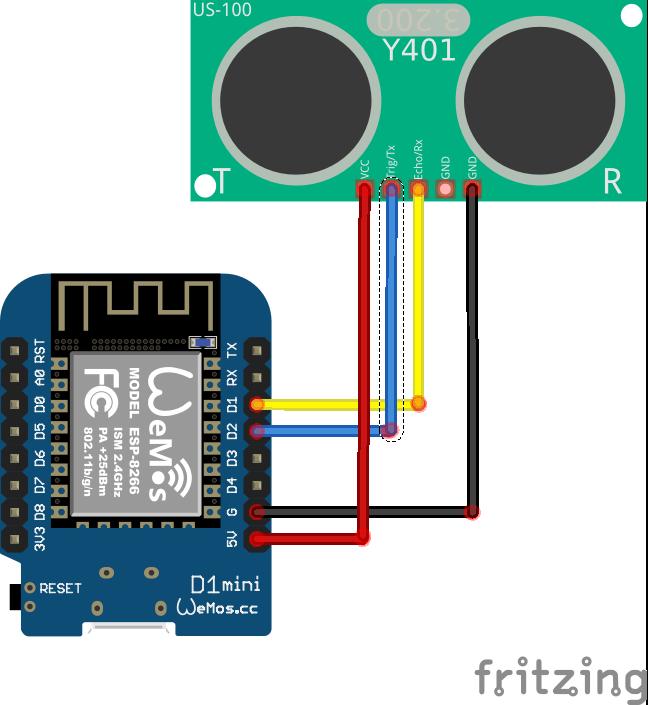 Fritzing wiring WeMos US-100