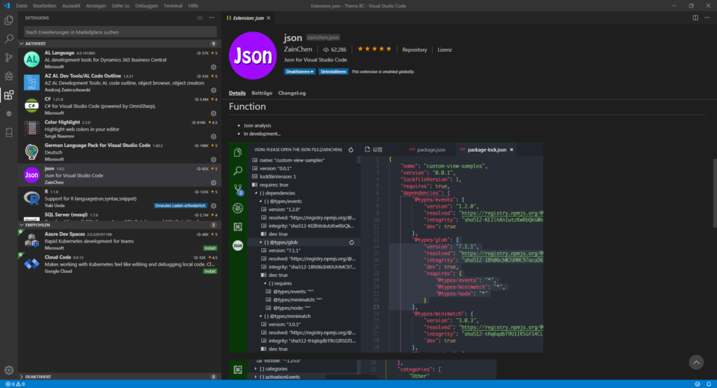 VSCode JSON Extension
