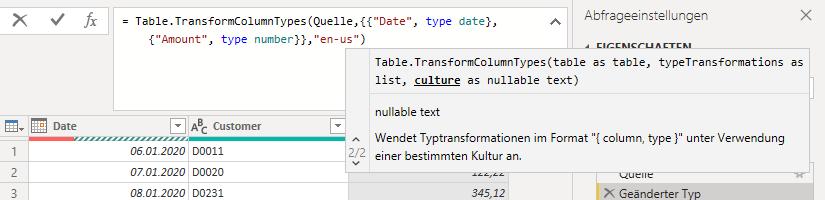Datentyp ändern mit Gebietsschema