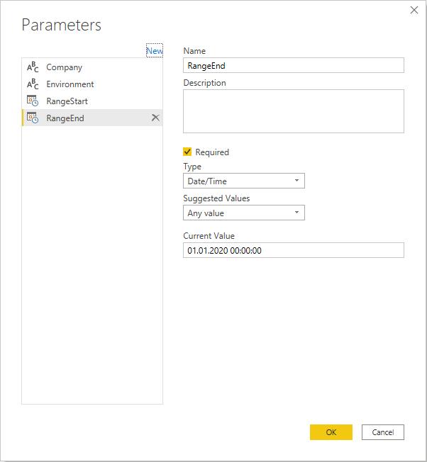 Parameters RangeStart and RangeEnd