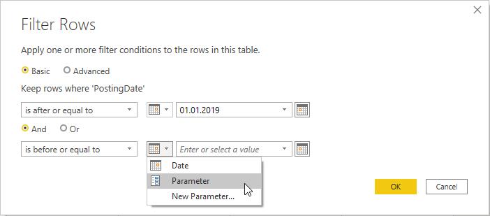 Date Filter dialog filter parameters