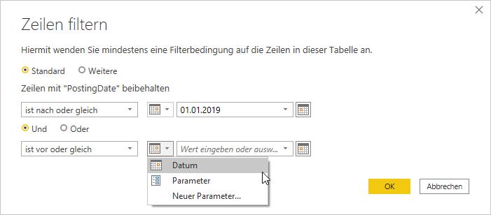 Datumsfilter Dialog Filterparameter setzen