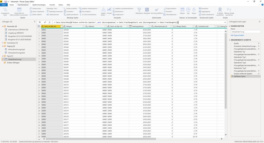 Kombinierte Abfrage filtern für Inkrementelle Aktualisierung