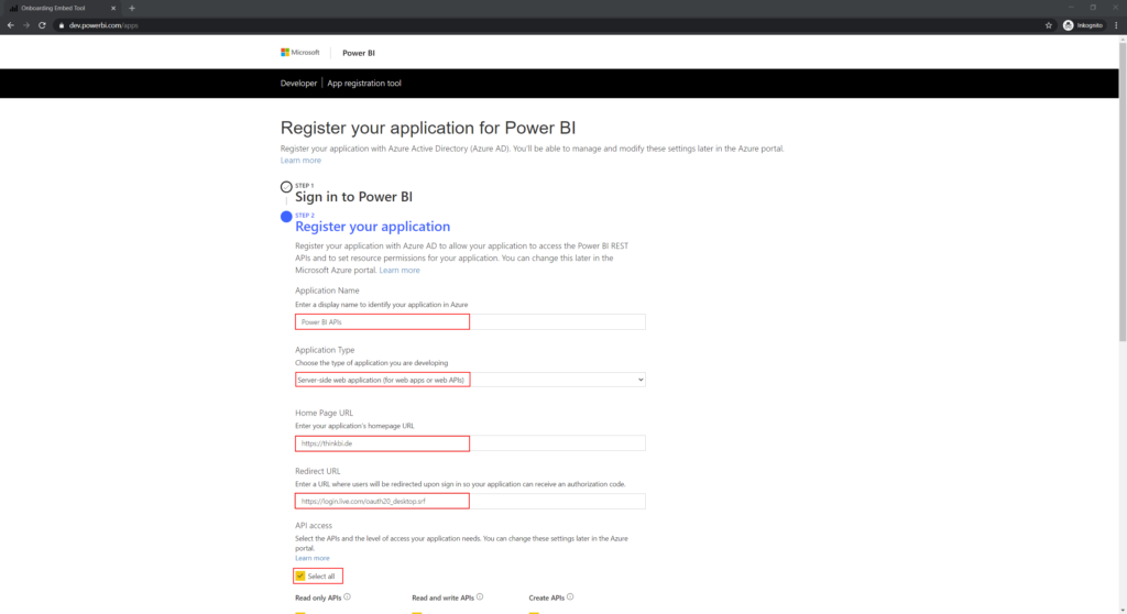 Register your application for Power BI