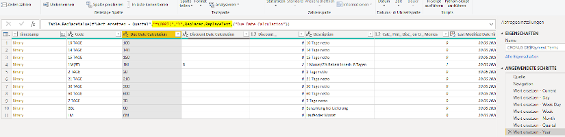 Business Central DateFormula mit Power Query vom MS SQL Server auslesen