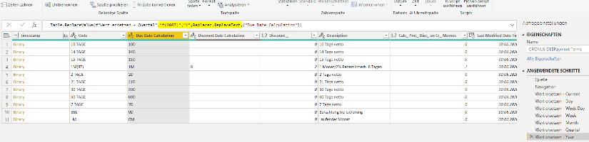 Business Central DateFormula mit Power Query vom MS SQL Server auslesen