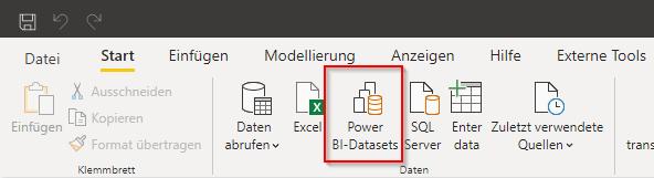 Power BI-Datasets verbinden