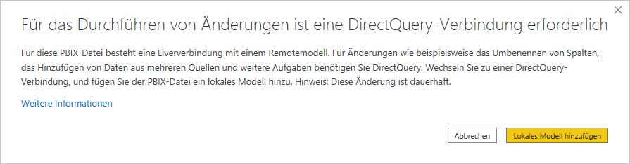 Hinweis DirectQuery-V