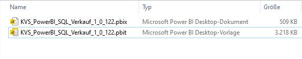 Vergleich der Dateigröße. Power BI Desktop-Dokument 509KB Power BI Desktop-Vorlage 3218 KB
