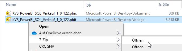 Power BI Desktop-Vorlage mit 7-Zip öffnen