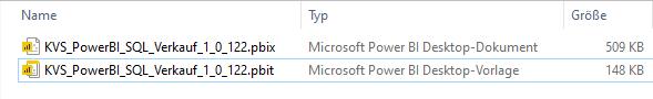 Vergleich der Dateigröße. Power BI Desktop-Dokument 509KB Power BI Desktop-Vorlage 148 KB